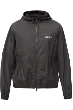 VALENTINO Hooded Logo-print Technical Windbreaker Jacket - Mens - Black