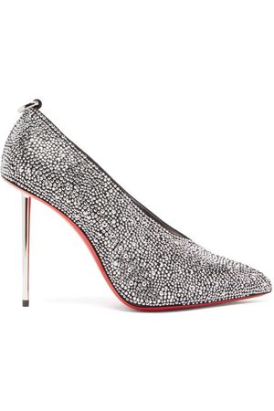 Christian Louboutin Et Pic Et 100 High-cut Crystal And Leather Pumps - Womens - Crystal