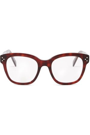 Céline Square Tortoiseshell-effect Acetate Glasses - Womens - Brown