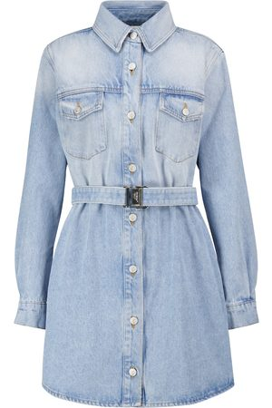 OFF-WHITE Embroidered denim shirt dress