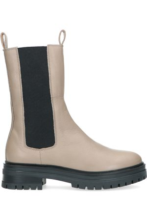 Manfield Taupe leren chelsea boots