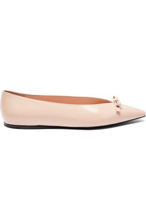 Prada Bow Point-toe Spazzolato-leather Ballet Flats - Womens - Light Pink