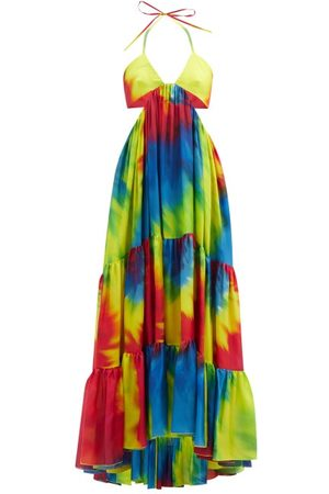 ALEXANDRE VAUTHIER Cutout Tie-dye Silk-charmeuse Maxi Dress - Womens - Yellow Multi