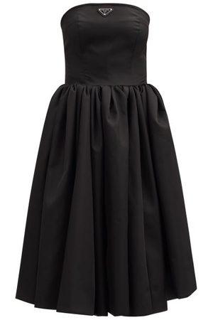 Prada Logo-plaque Re-nylon Strapless Circle Dress