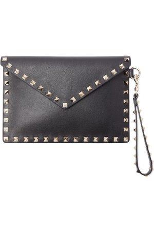 Valentino Garavani Rockstud Leather Envelope Pouch - Womens - Black
