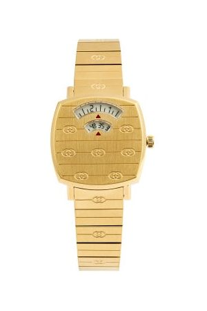 Gucci Grip Three-window Gold Pvd Watch - Womens - Gold
