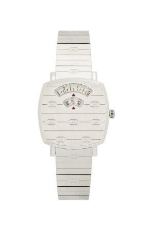 Gucci Grip Three-window Stainless-steel Watch - Womens - Silver