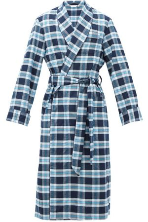 DEREK ROSE Kelburn Belted Check Cotton Robe - Mens - Navy Multi