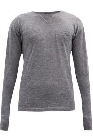 Prada Crew-neck Panelled Cashmere Sweater - Mens - Grey