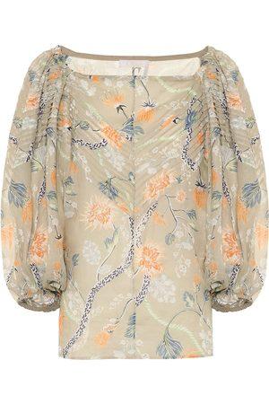 Chloé Floral ramie off-shoulder blouse