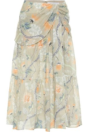 Chloé Floral ramie midi skirt