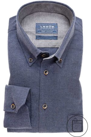 Ledub Overhemd navy button down Tailored Fit