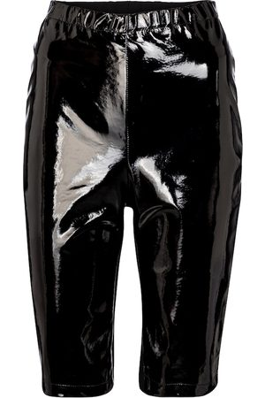 DAVID KOMA Patent leather biker shorts