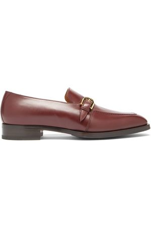 Gucci Heren Loafers - Zola Buckled Leather Loafers - Mens - Burgundy