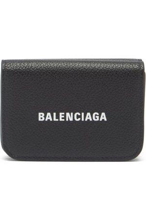 Balenciaga Logo-print Grained-leather Bi-fold Wallet - Womens - Black White