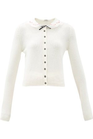 Miu Miu Embroidered-collar Cashmere Cardigan - Womens - Cream