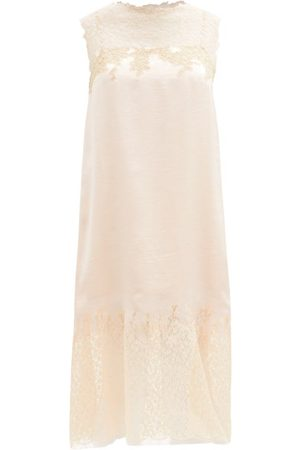 Prada Dames Cocktailjurken - Lace-trimmed Satin-twill Dress - Womens - Light Pink Multi