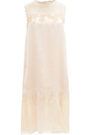 Prada Lace-trimmed Satin-twill Dress - Womens - Light Pink Multi