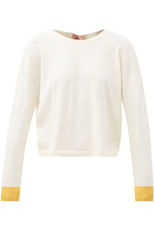 Marni Dames Sweaters - Tie-back Cotton-blend Sweater - Womens - Ivory