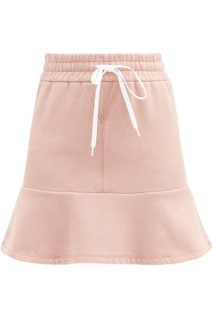 Miu Miu Logo-print Cotton-jersey Mini Skirt - Womens - Pink