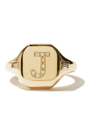 Shay Dames Ringen - Initial Diamond & 18kt Gold Pinky Ring (j-q) - Womens - Yellow Gold