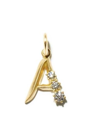 Jade Trau Diamond & 18kt Gold Initial Charm (a-m) - Womens - Yellow Gold
