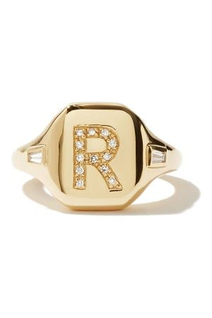 Shay Initial Diamond & 18kt Gold Pinky Ring (r-z) - Womens - Yellow Gold