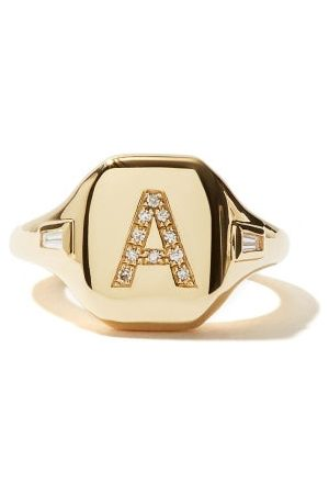 Shay Initial Diamond & 18kt Gold Pinky Ring (a-i) - Womens - Yellow Gold