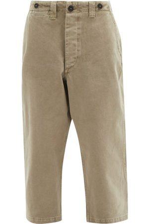 Raey Dames Chino's - Wide-leg Cotton-twill Chino Trousers - Womens - Khaki