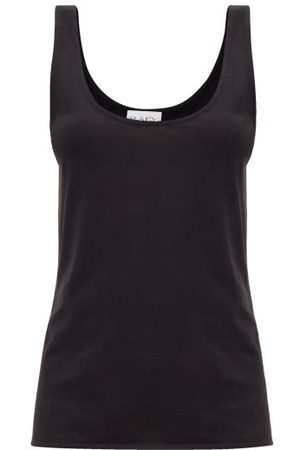 Raey Scoop-neck Cotton-blend Jersey Tank Top - Womens - Black