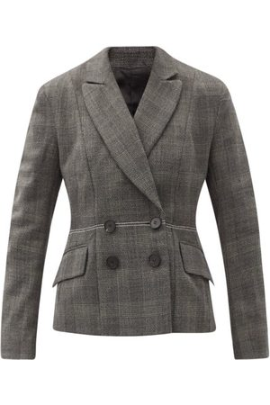 Ssone Lyre Prince Of Wales-check Wool Suit Jacket - Womens - Grey