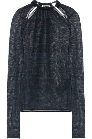 Jil Sander Beaded collar wool-blend top