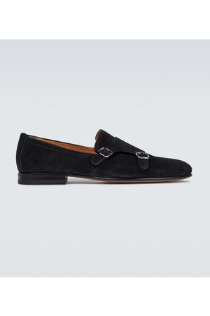 santoni Double monk strap suede shoes