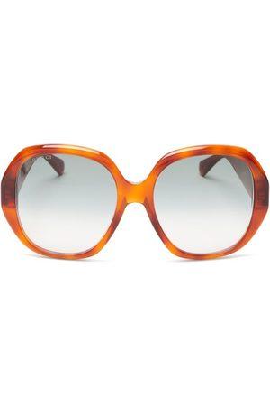 Gucci Oversized-round Tortoiseshell-acetate Sunglasses - Womens - Tortoiseshell