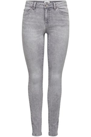 Only Onlwauw Life Mid Skinny Jeans Dames Grijs