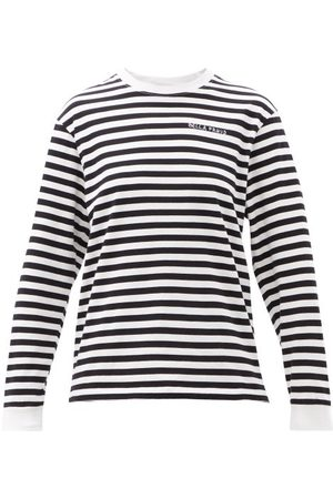 BELLA FREUD Dames Lange mouw - Logo-embroidered Striped Cotton-jersey T-shirt - Womens - Black
