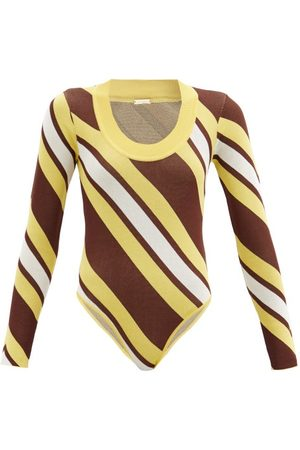 DODO BAR OR Summer Stripe-intarsia Bodysuit - Womens - Yellow Multi