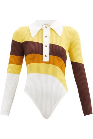 DODO BAR OR Dames Body's - Hera Striped Ribbed-knit Bodysuit - Womens - Yellow Multi