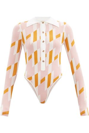 DODO BAR OR Carina Geometric-print Bodysuit - Womens - Pink Multi
