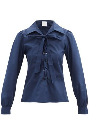 LORETTA CAPONI Dames Shirts - Tessa Lace-up Cotton-poplin Shirt - Womens - Navy