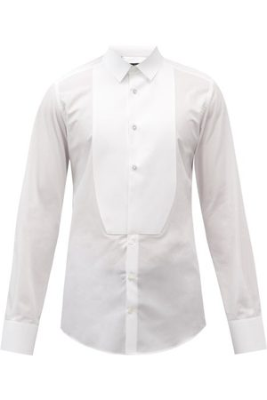 Dolce & Gabbana Curved-bib Cotton-poplin Tuxedo Shirt - Mens - White