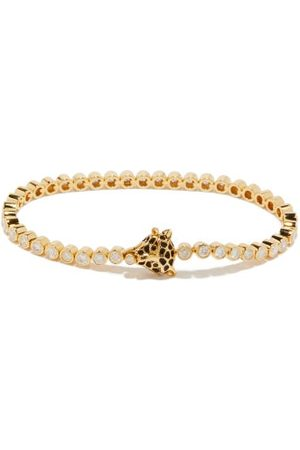 YVONNE LÉON Leopard Diamond & 18kt Gold Bracelet - Womens - Gold Multi