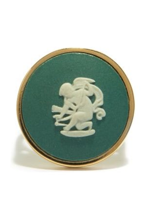Ferian Dames Ringen - Cupid Wedgwood Cameo & 9kt Gold Signet Ring - Womens - Green White