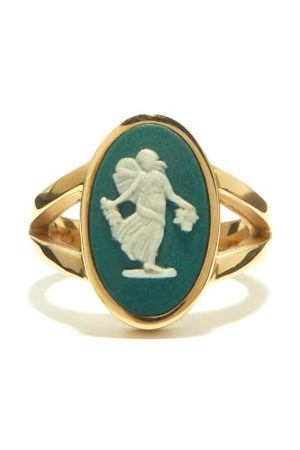 Ferian Dames Ringen - Dancing Hours Wedgwood Cameo & Gold Signet Ring - Womens - Green White