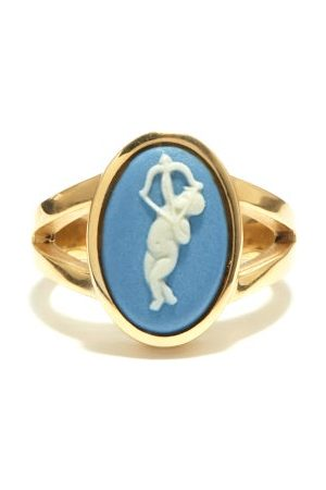 Ferian Cupid Wedgwood Cameo & 9kt Gold Ring - Womens - Blue White