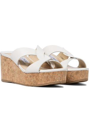 Jimmy Choo Atia 75 leather wedge sandals