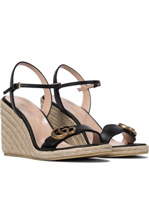 Gucci Double G leather espadrille wedges