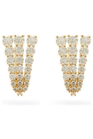 Melissa Kaye Aria Fan Diamond & 18kt Gold Earrings - Womens - Yellow Gold
