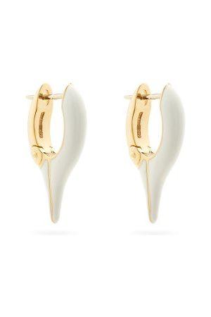 Melissa Kaye Lola Enamel & 18kt Gold Needle Earrings - Womens - White Multi
