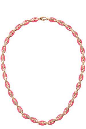 Melissa Kaye Ada Diamond, Enamel & 18kt Rose-gold Necklace - Womens - Pink Multi